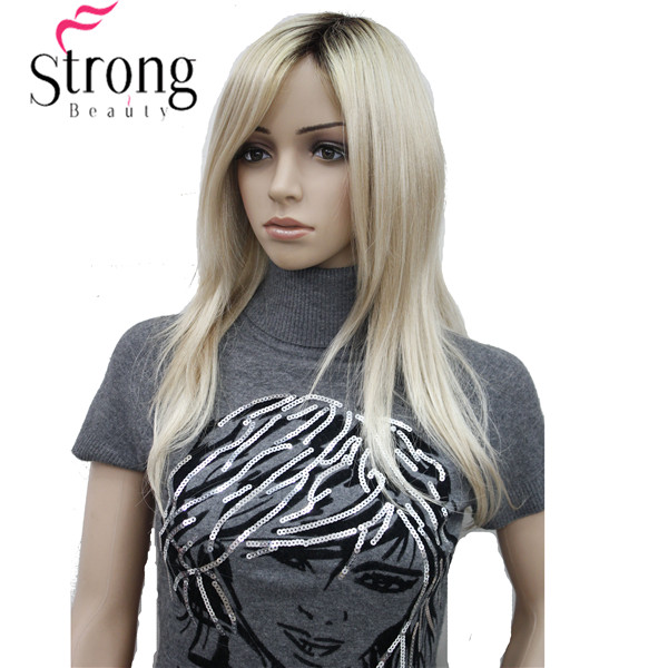 Long Straight Blonde with Dark Roots Side Swept Bangs Synthetic Wig