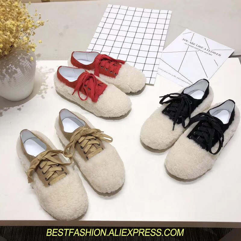 Real Fur Winter Shoes Women Mixed Colors Thick Platforms Shoes 2018 Lace Up Ultra Women Sneakers Mesh Leather Casual Women Shoes real fur winter shoes women mixed colors thick platforms shoes 2018 lace up ultra women sneakers mesh leather casual women shoes