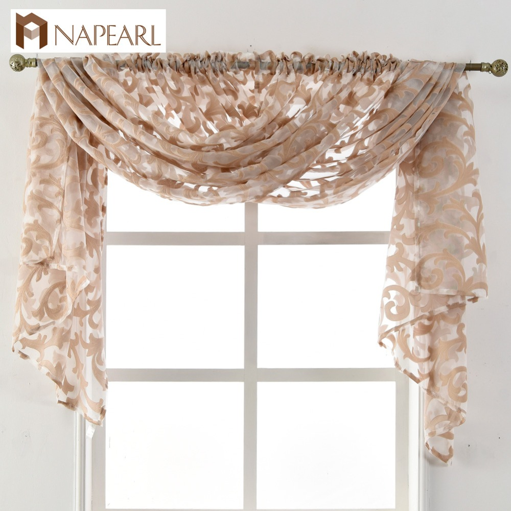 NAPEARL European Style Tulle Curtain Home Sheer Panel Living Room Window New Treatment Drapes Curtain Jacquard Organza Fabric
