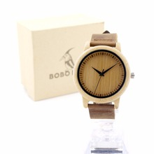Luxury Brand Fashion Mens Bamboo Wooden Watches With Genuine Leather Strap Male Casual Quartz Watch Lover Best Gift Montre Homme
