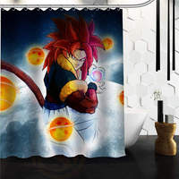 High Quality Modern Design Polyester Bath Screen Print Hot Cartoon Dragon Ball Z Shower Curtain Waterproof