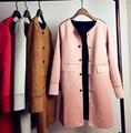 Nova moda primavera outono Tecido de Camurça simples solto manga comprida senhora Trincheira de Forma magro mulheres estilo Médio Casaco Corta-vento