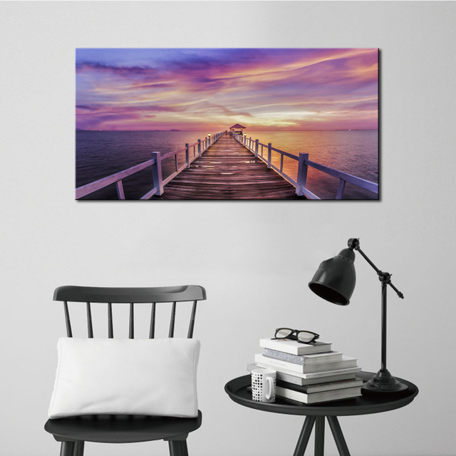 1 Panel Purple Seascape Wall Art Painting Sunset Landscape Poster Canvas Print for Living Room Bedroom & 1 Panel Purple Seascape Wall Art Painting Sunset Landscape Poster ...