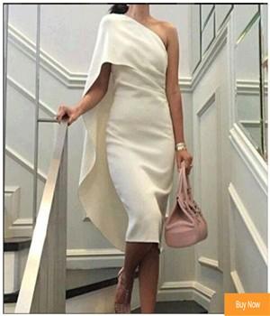 Robe-De-Soiree-Longue-2016-Elegant-One-Shoulder-Evening-Dress-White-Tea-Length-Simple-Short-Evening