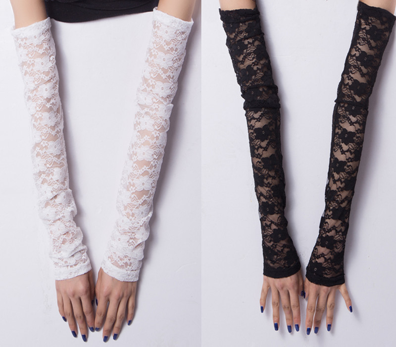 Extra Long Flowery Lace Evening Costume Arm Warmers Sexy Women Summer Sleeves Fingerless Sleeve UV Driving Protection 2018