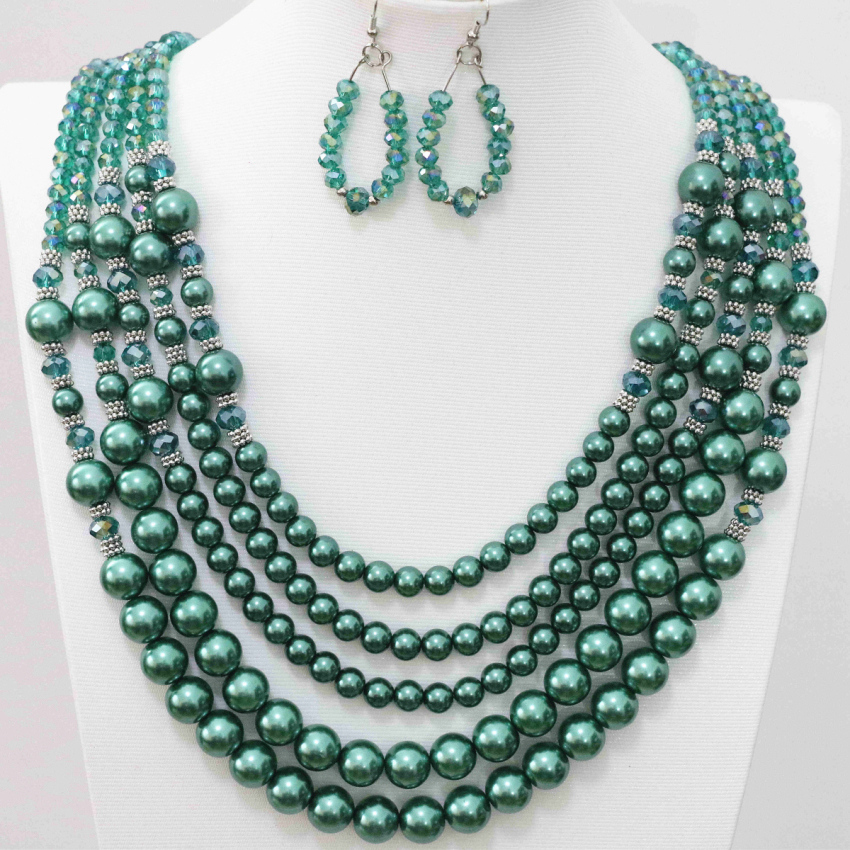 Free shipping 5rows necklace earrings for women peacock green glass crystal faux pearl shell beads high grade jewelry set B983-8