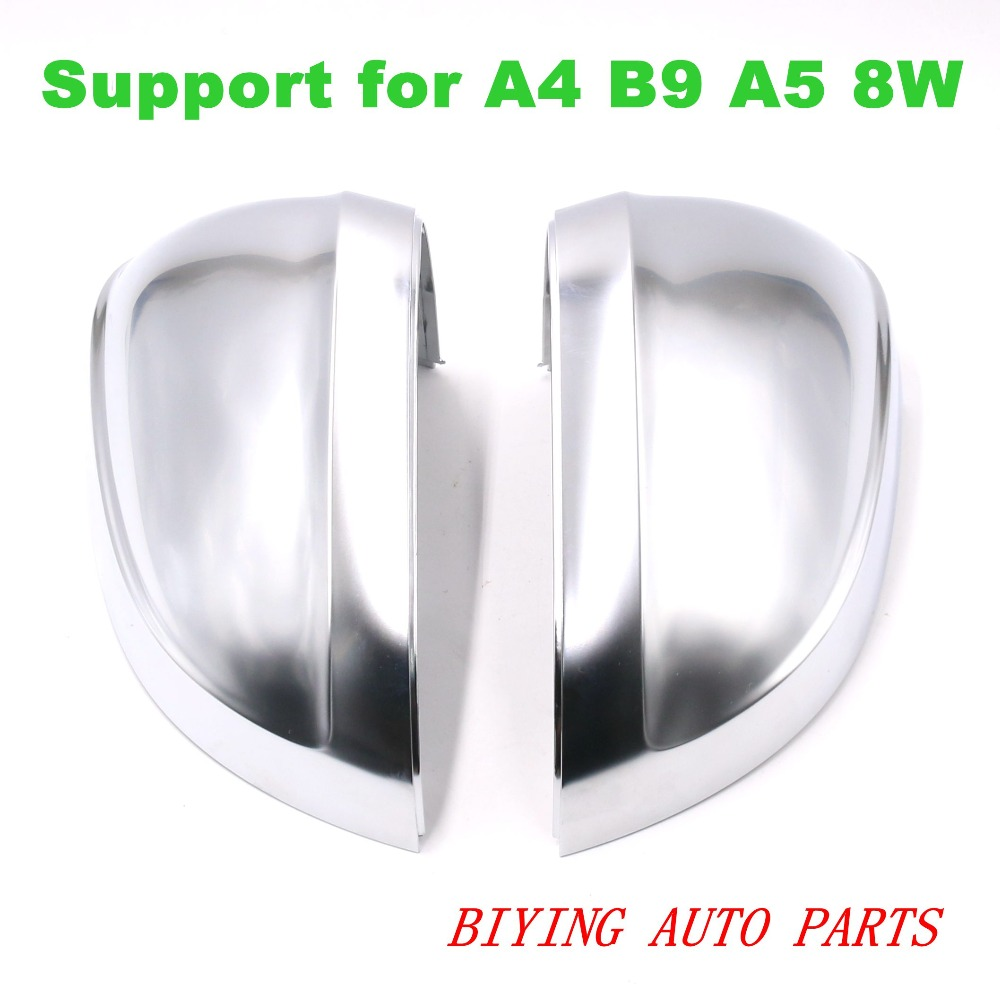 Pour Audi A4 B9 A5 8 W Support mat Chrome argent miroir boîtier rétroviseur coque de couverture