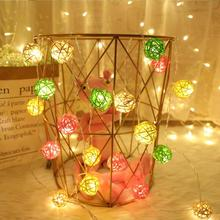 1.5M 10LED 4CM Rattan Ball String Fairy Lights Cotton Ball LED Light String Wedding Party Favor Christmas Decor Battery operated недорого