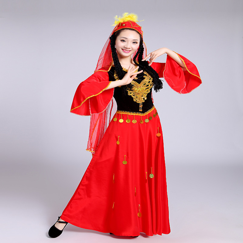 2018 New Women's Dance Costumes Women's Adult Uygur Dresses Uighur Costume Ethnic
