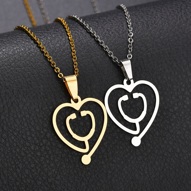 Letdiffery Simple Medical Stethoscope Neclaces & Pendants Love Gold Heart Necklace For Women Dropshipping Bijoux Femme Gift