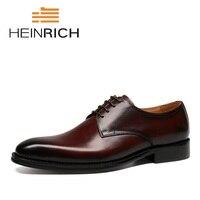 Генрих 2018 Новый высокое качество из натуральной кожи Для мужчин обувь в стиле Дерби Модельные туфли из телячьей кожи на шнуровке Мужская Об