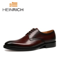 HEINRICH 2018 New High Quality Genuine Leather Men Derby Shoes Lace Up Bullock Business Dress Men Shoes Zapatillas Hombres