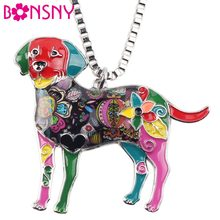 Bonsny Statement Maxi Alloy Enamel Labrador Dog Choker Necklace Chain Pendant Collar 2017 Fashion New Enamel Jewelry Women(China)
