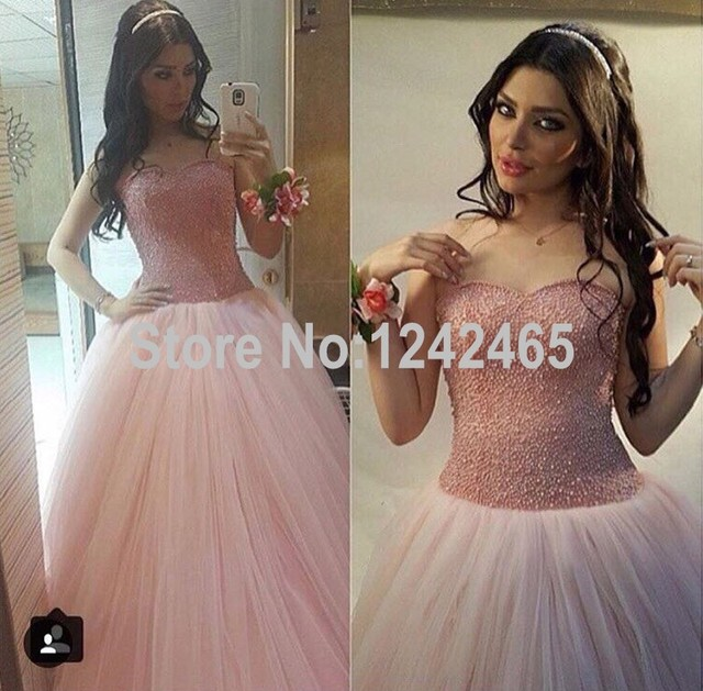 111fa76f91 Classical Ball Gown Sweetheart Beaded Long Dresses Evening Good Quality  Soft Tulle Evening Gowns China QM98