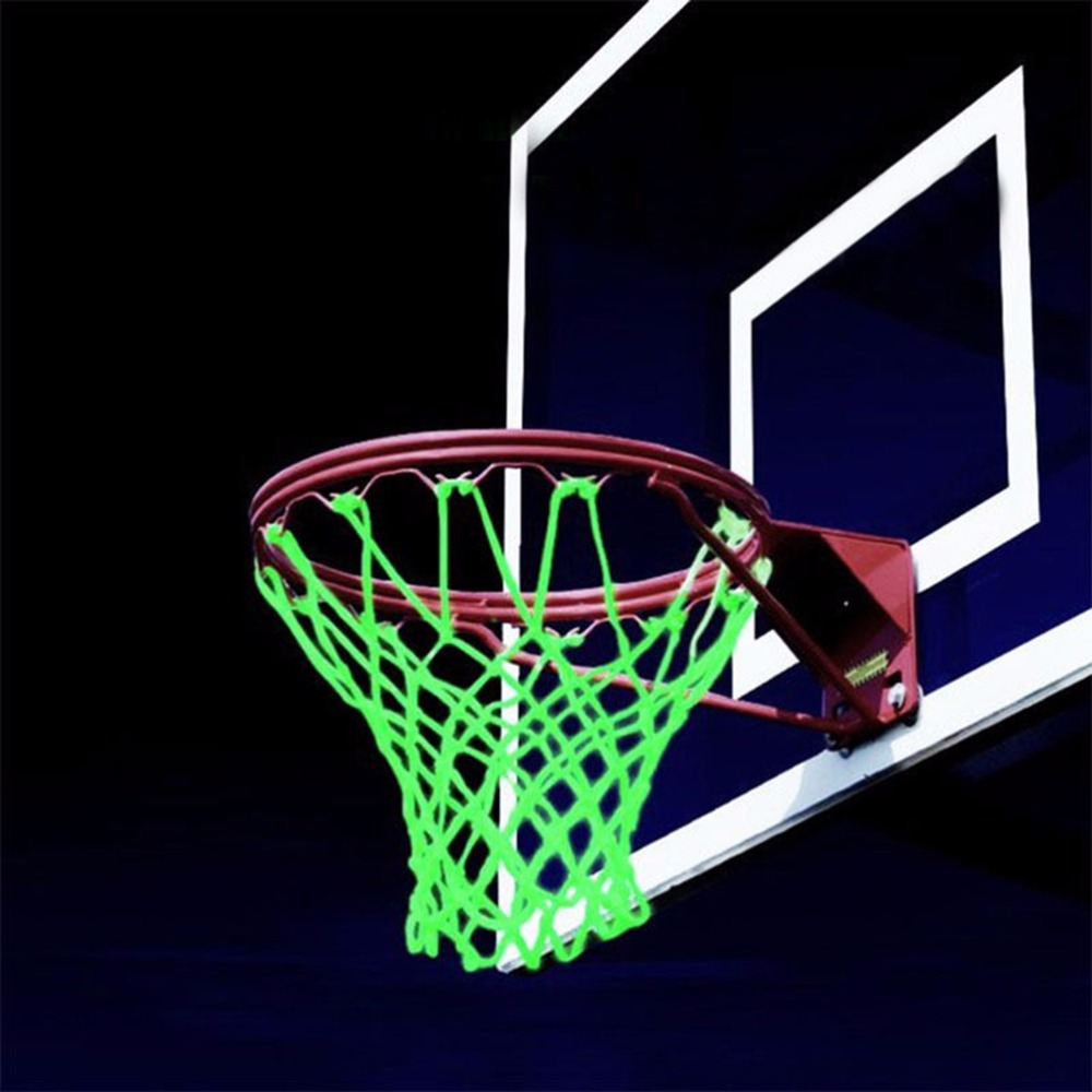 1PC New Green Luminous Basketball Net Backboard Rim Ball Mesh Nylon Standard Basketball Hoop Net Glowing Light Shooting Training