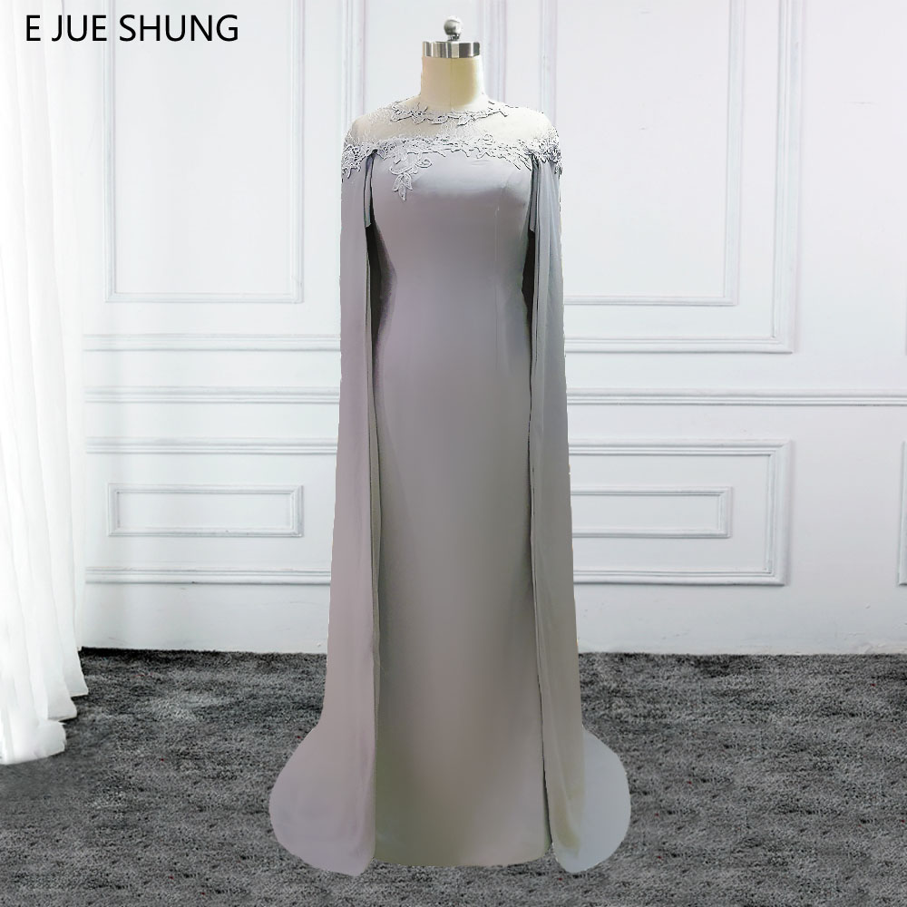 E JUE SHUNG Silver Chiffon Long Mermaid Evening Dresses With Cape Mother of the Bride Dresses Formal Dresses abendkleider