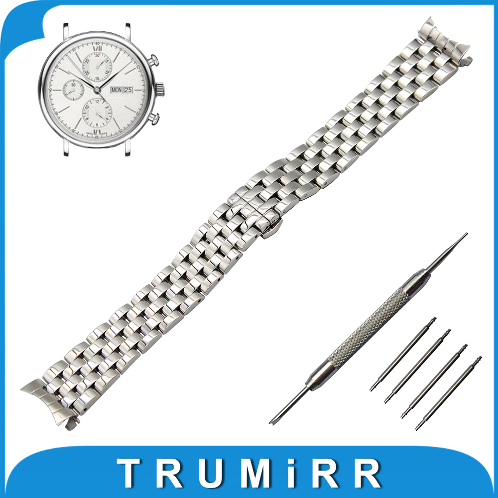 20mm 22mm Stainless Steel Watch Band Curved End Strap + Tool for IWC Watchband Butterfly Buckle Belt Replacement Wrist Bracelet 18mm 20mm 22mm 24mm stainless steel watch band curved end strap universal watchband butterfly buckle belt wrist bracelet
