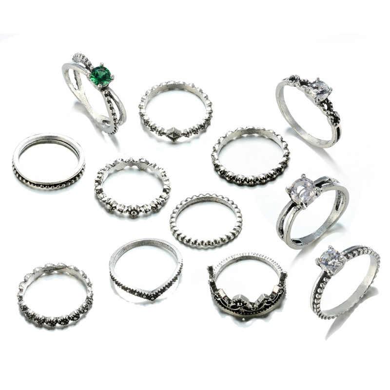 Intageกลวงออกแหวนชุดสีเงินทิเบตสีฟ้าหินเทียมMidiแหวนสำหรับผู้หญิงโบราณหินผู้ชายแหวน