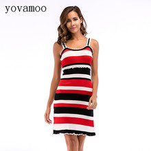 Yovamoo Spaghetti Strap Dress Striped Sleeveless Color Block Split Summer New 2018 Knitted Dresses Women stylish flanging color block striped knitted beanie for women