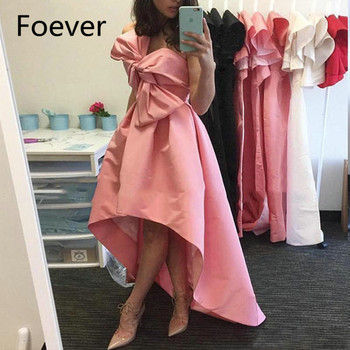 Lovely Baby Pink High Low Evening Gowns 2019 Bow Neck Corset Back Asymmetrical Party Gowns