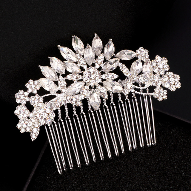 Elegant Crystal Flower Bridal Hair Combs 2