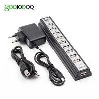 Goojodoq 10 포트 usb 2.0 허브 (ac 전원 컴퓨터 주변 장치 포함) portablefor pc 노트북 노트북 용 공급 어댑터