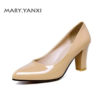 Spring/Autumn Women Pumps Lady Shoes Big Size Patent Leather High Heel Pointed Toe Casual Slip-On Shallow Solid Classics Concise 2017 mary janes women pumps fashion patent leather slip on casual women shoes spring autumn flower toe part square heel med heel