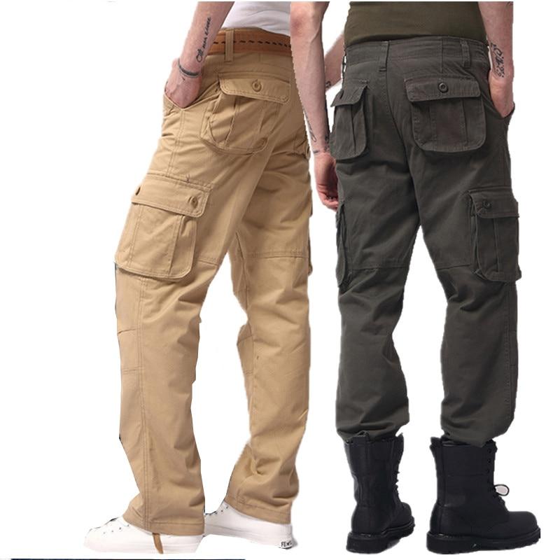 2017 Mens khaki Pant Military Multi Pocket Cargo Pants Men ...