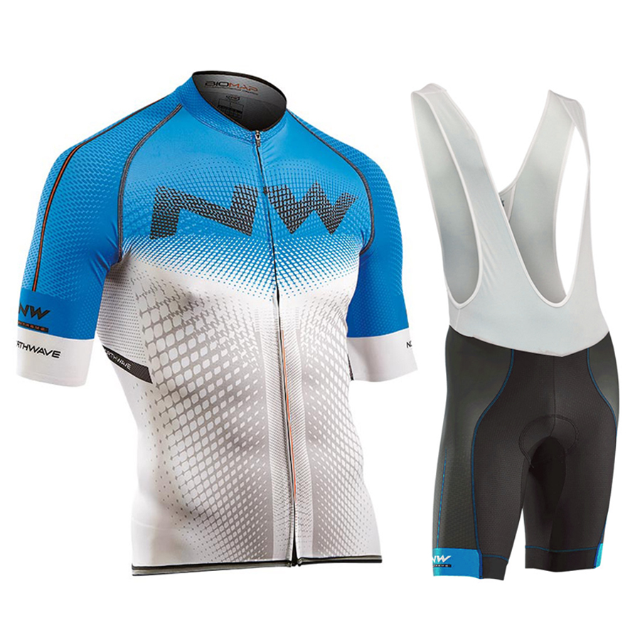 2017 NW New Short Sleeves Pro Team Cycling Jerseys Set with Bib Pants Quick Dry Breathable Ropa Maillot Ciclismo 9D Gel Pad