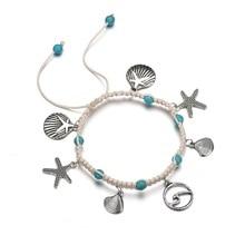 New Fashion Bohemia  Bracelet Beach Starfish Shell Bracelets Ocean Jewelry Weaving Adjustable Beads For Women