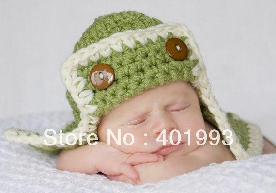 Schattig Haak Knit Baby Jongen Piloot Avaitor Hoedje Lime Groen 1 St