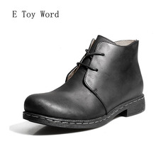Фотография E Toy Word 2017 men shoes winter boots High cylinder Martin Bangmian boy toe layer Crazy Horse  men PU Leather Boots Size 38-47