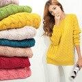Moda Twisted Patrón Mujeres Suéteres Casual Cuello Redondo Manga Larga Jerseys Loose Color Sólido Tirón de Punto 2016 Otoño