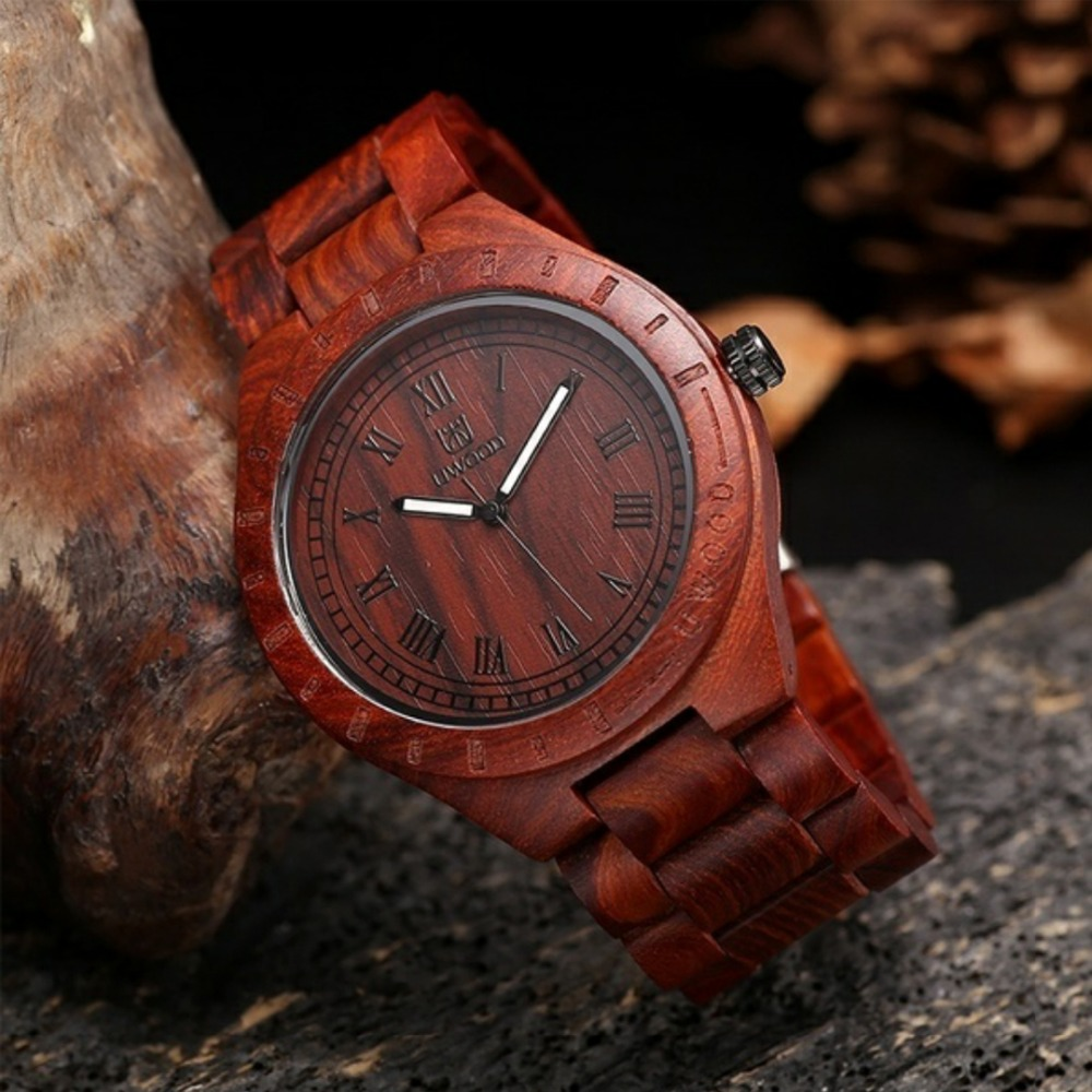 Подробнее о Natural Eco-Friendly Wood Watch red sandal Straps Quartz Watches for women men with Antique wooden dial Uwood Wristwatch man uwood luxury natural wood wristwatch for men fashion quartz watches with wooden watch men s unique christmas gift 3 colours