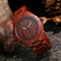 Natural Eco Friendly Wood Watch red sandal Straps Quartz Watches for women men with Antique wooden dial Uwood Wristwatch man