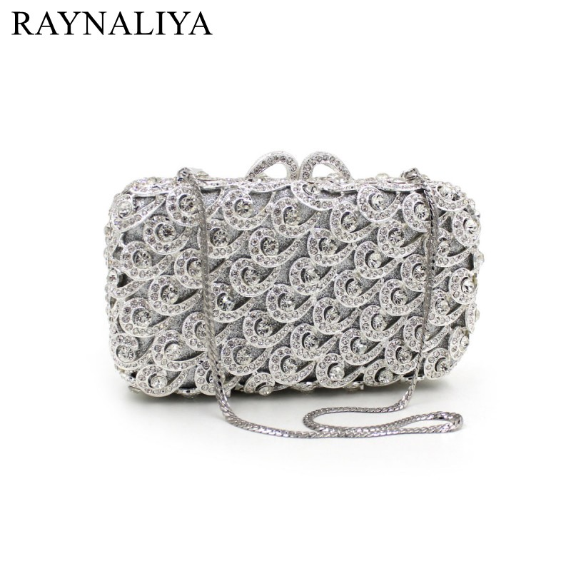 Sliver Evening Bag Luxury Cyrstal Clutch Ladies Bags Prom Pochette Women Fashion Purse Bling Minaudiere Chain Smyzh-f0124 2015 2 side sequined chinese style fish shaped ladies evening bags small crossbody bags for women clutch wallet pochette l702