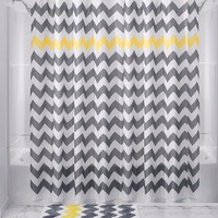 71 Wavy Pattern Polyester Bathroom Shower Curtain Mat Set W 12 Plastic Hooks