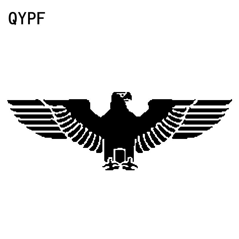 QYPF 18.7CM*6.5CM Funny German Eagle Vinyl Decoration Black/Silver Car Sticker Exquisite Decal C15-0905