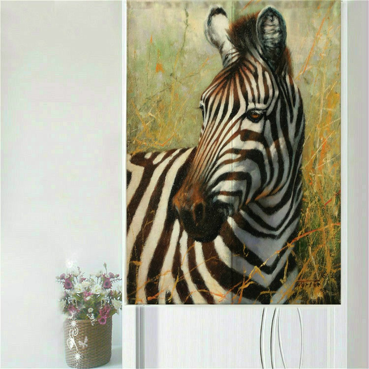 Animal Door Curtain zebra elephant leopard tiger giraffe 85X150CM Western Oil Painting Partition Household Geomantic zoo curtain-in Curtains from Home ... & Animal Door Curtain zebra elephant leopard tiger giraffe 85X150CM ...
