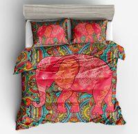 Boho Mandala Pattern Elephant Printed Duvet Cover Pillowcase Set Single Double Bed Twin Queen King Size