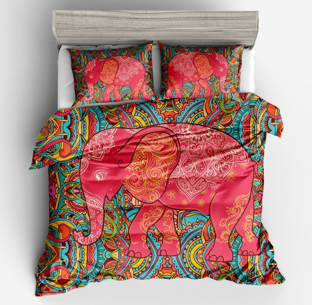 Boho Mandala Pattern Elephant Printed Duvet Cover Pillowcase Set Single Double Bed Twin Queen King Size 2/3Pcs Bedding Sets