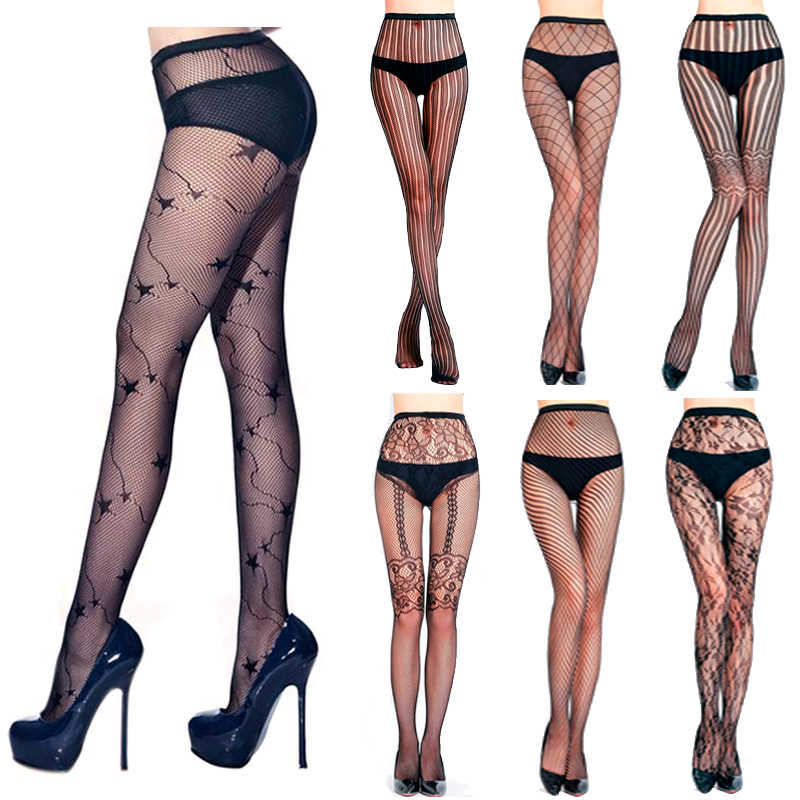 29bf167a1b4cc LIMSISNIW Fashion Woman Black Fishnet Tights  Stars/Florals/Plaids/Strips/Twill Young