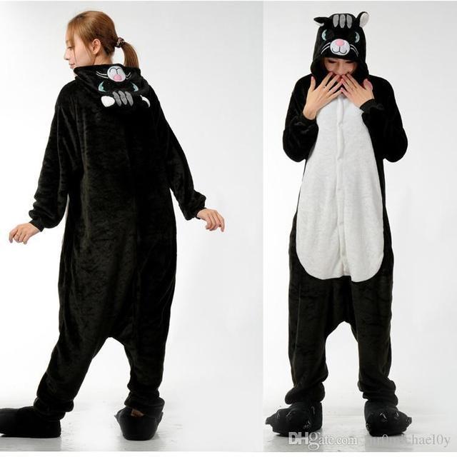 Midnight Cat Onesies In Black Animal Onesies Pajamas For Adult Cute Women s  One Piece Onesies Pajamas Hooded Onesies 1dd295e32
