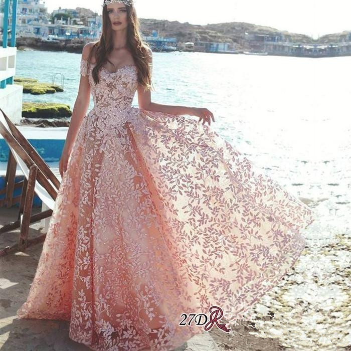 Pink Muslim   Evening     Dresses   2019 A-line Sweetheart Lace Beaded Islamic Dubai Saudi Arabic Long   Evening   Gown Prom   Dress