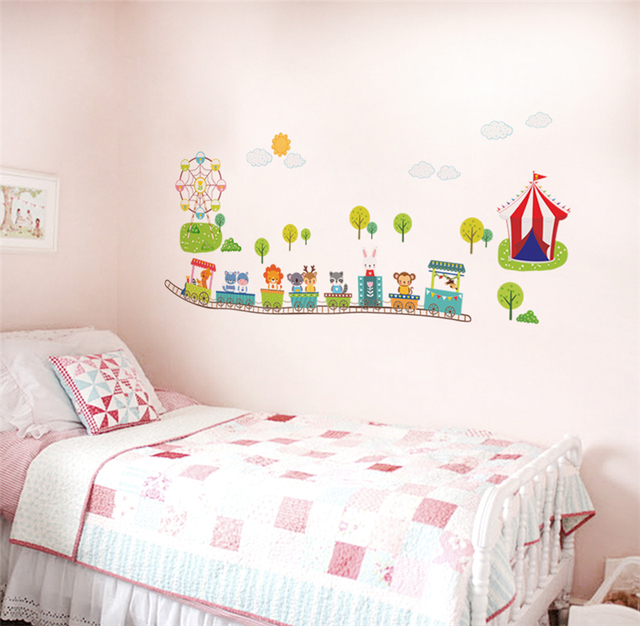 Cartoon Animals Train Wall Decals Kids Bedroom Decorative Stickers Baby  Gift Nursery Safari Mural Art Decals Part 98