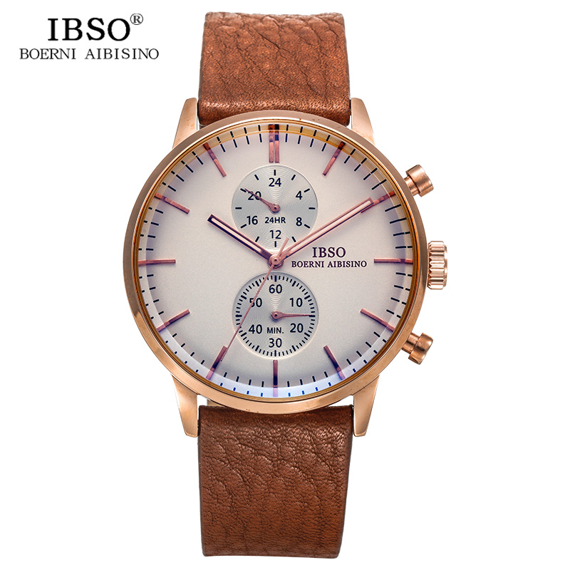 IBSO Brand Luxury Sapphire Crystal Mens Watches High Quality Genuine Leather Strap Men Quartz Watch Waterproof Relogio Masculino ibso brand luxury sapphire crystal mens watches high quality genuine leather strap men quartz watch waterproof relogio masculino