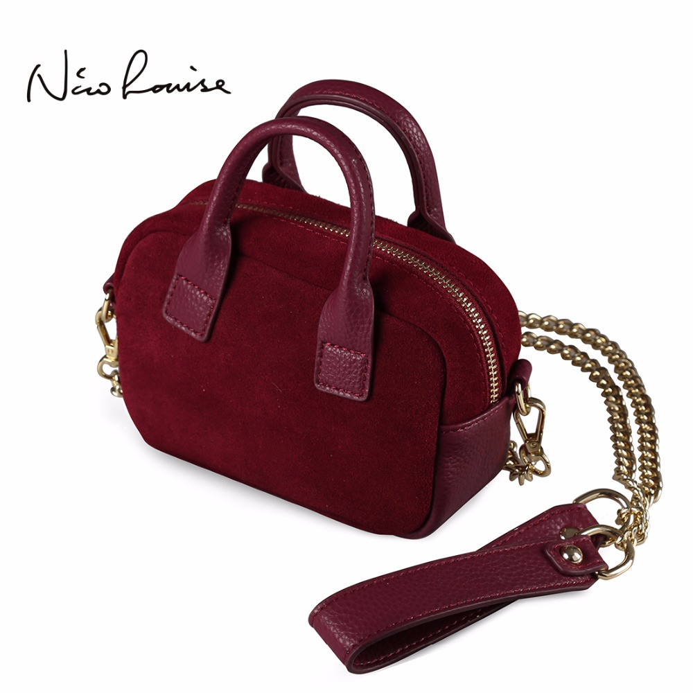 Nico Louise Women Mini Shoulder Phone Bag Real Split Leather Crossbody Small Chain Purse For Girls Female Little Top-handle Bags lacattura small bag women messenger bags split leather handbag lady tassels chain shoulder bag crossbody for girls summer colors