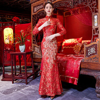 Lady Elegant Classic Red Qipao Peacock Sequins Cheongsam Traditional Bride Wedding Dress Oriental Women Toast Clothing Vestidos