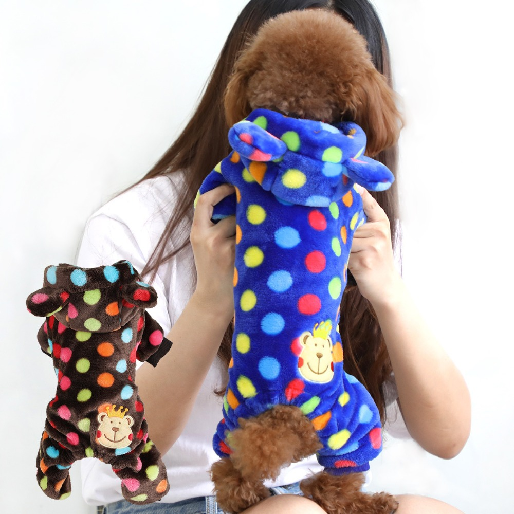 Cute Boy Dog Jumpsuit Winter Small Pet Cat Clothing Pajamas Warm Puppy Poodle Apparel Coat Dot Bear XXS-L