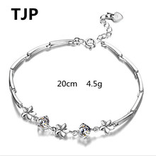 TJP Fashion Silver 925 Women Bracelets Jewelry Cute Clear Crystal  Flower Design Girl For Lady Gift Birthday Christmas